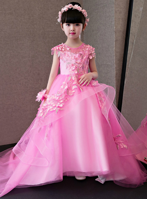 In Stock:Ship in 48 hours Pink Hi Lo Tulle Flower Girl Dress