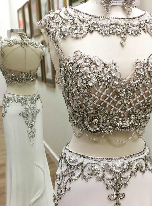 Long Mermaid White Chiffon Two Piece Backless Prom Dress