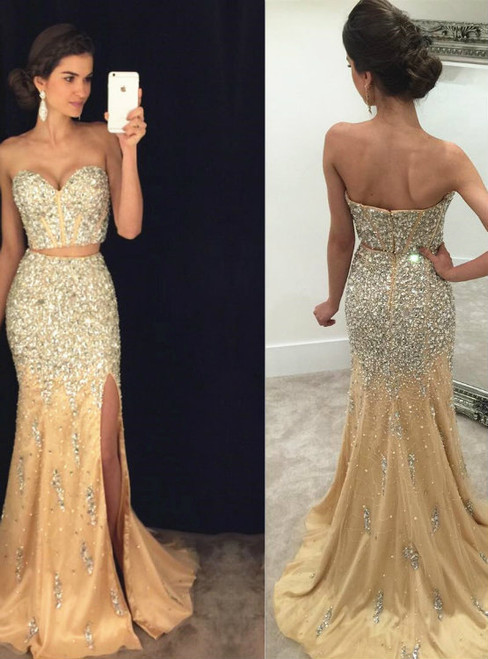 Two Piece Prom Dresses,Shining Beading Crystal Party Dresses