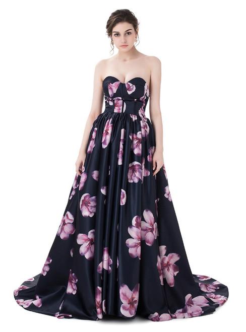 In Stock:Ship in 48 hours Black Print Sweetheart Satin Prom Dress