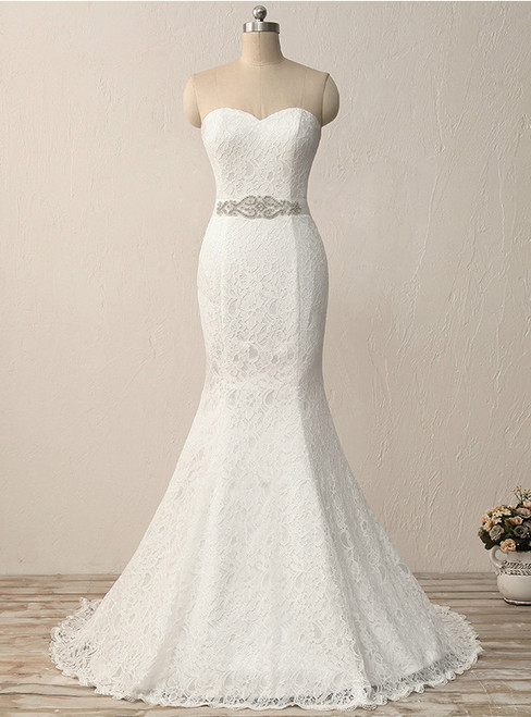 In Stock:Ship in 48 hours Mermaid Lace Sweetheart Lace Wedding Dress