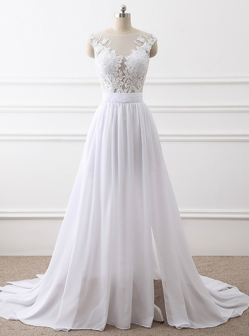 In Stock:Ship in 48 hours Simple Beach Chiffon Lace Wedding Dress