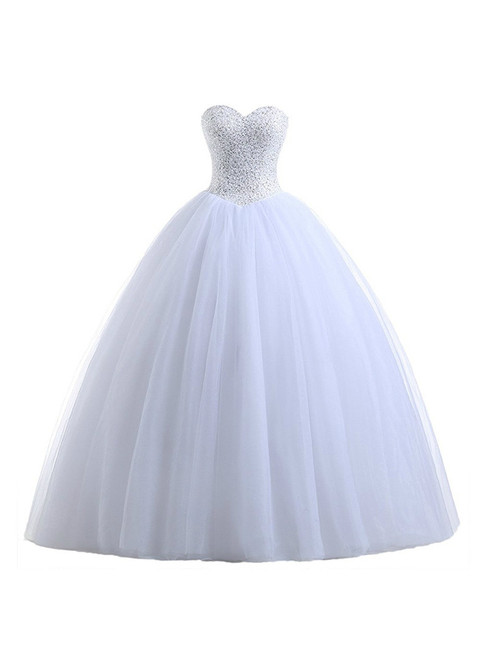 In Stock:Ship in 48 hours Ball Gown Sweetheart Tulle Beading Wedding Dress