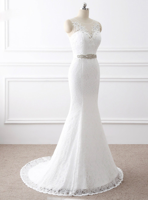 In Stock:Ship in 48 hours Mermaid White Lace Backless Wedding Dress