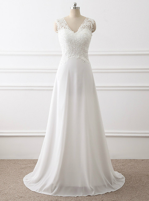 In Stock:Ship in 48 hours Chiffon Lace Beading Wedding Dress