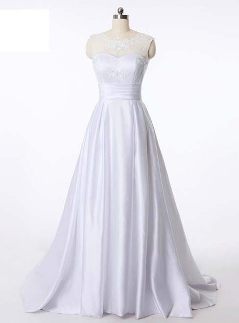 In Stock:Ship in 48 hours A-Line Satin Backless Wedding Dress