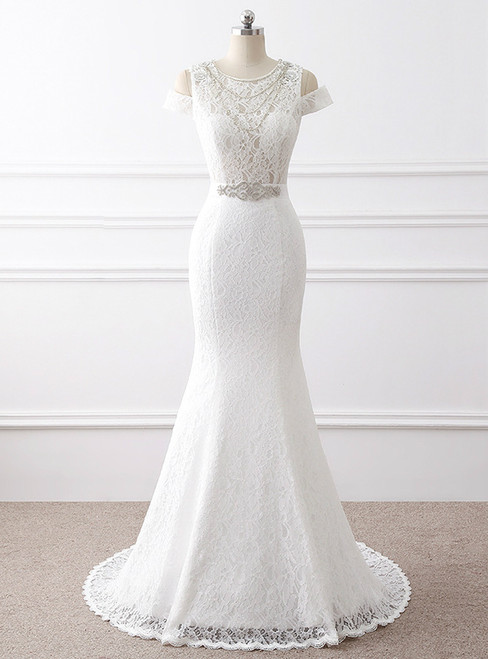 In Stock:Ship in 48 hours Mermaid Lace Beading Wedding Dress