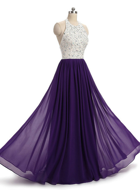 In Stock:Ship in 48 hours Halter Purple Beading Chiffon Prom Dress