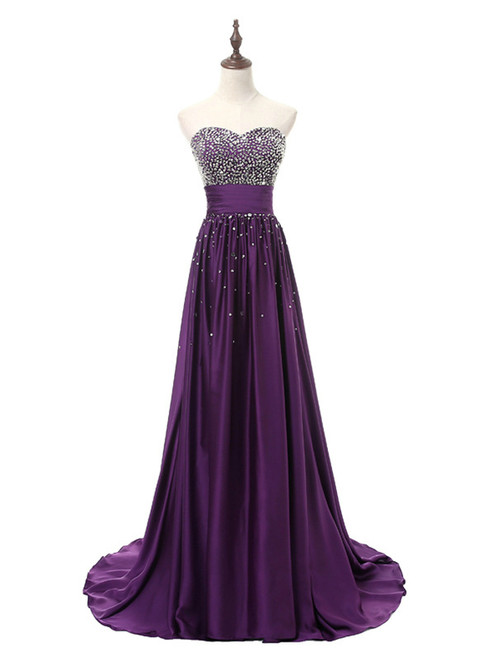 In Stock:Ship in 48 hours Purple Satin Beading Sweetheart Prom Dress