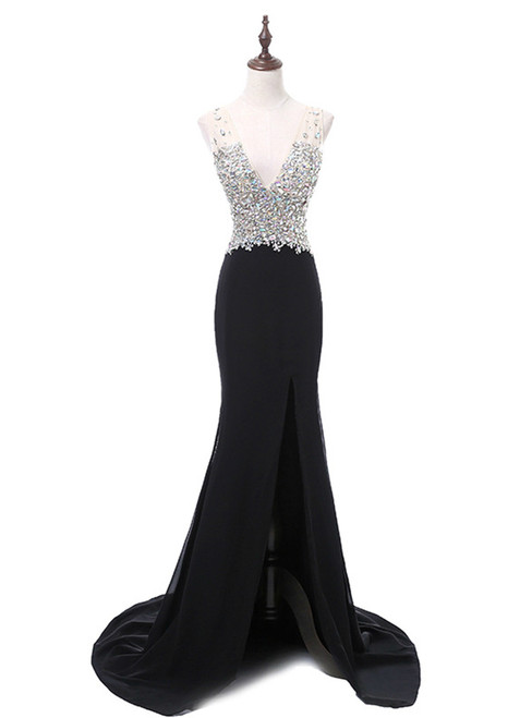 In Stock:Ship in 48 hours Black Chiffon Mermaid V-neck Prom Dress
