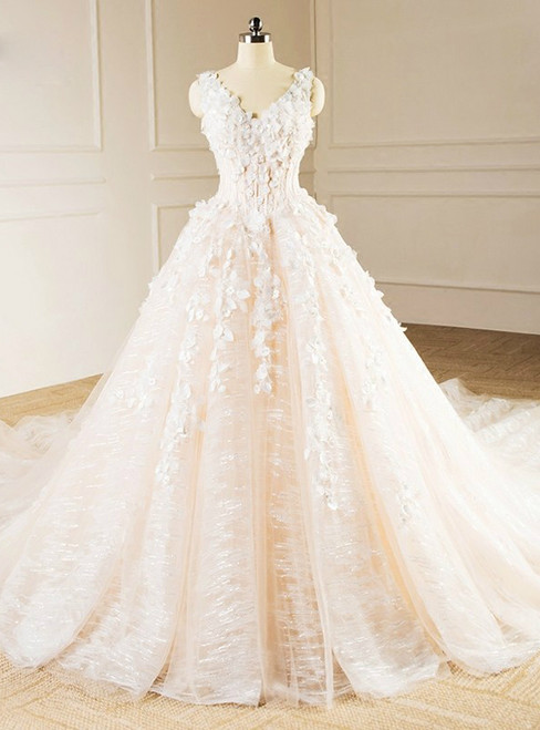 Ball Gown Ivory V-neck Backless Haute Couture Wedding Dresses