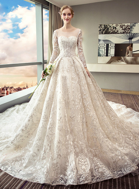 White Ball Gown Long Sleeve Lace Backless Wedding Dress
