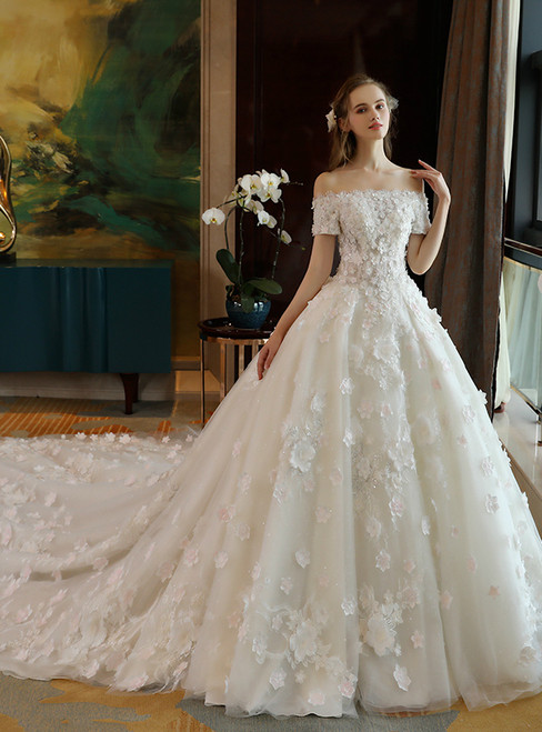 Luxury White Ball Gown Off The Shoulder Lace Appliques Wedding Dress