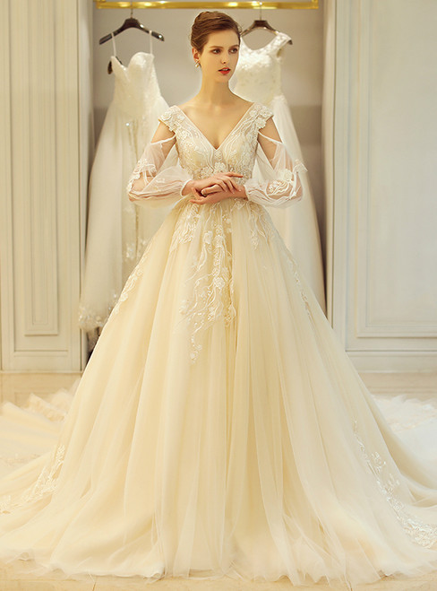 In Stock:Ship in 48 hours Ball Gown Backless Long Sleeve Wedding Dress
