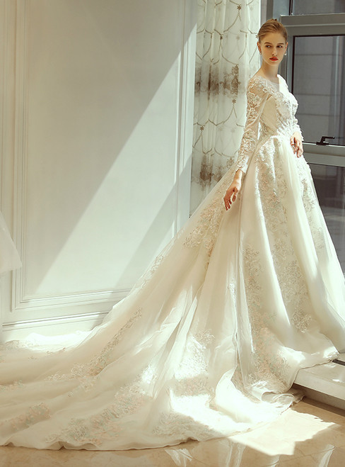 In Stock:Ship in 48 hours Long Sleeve Backless Appliques Wedding Dress