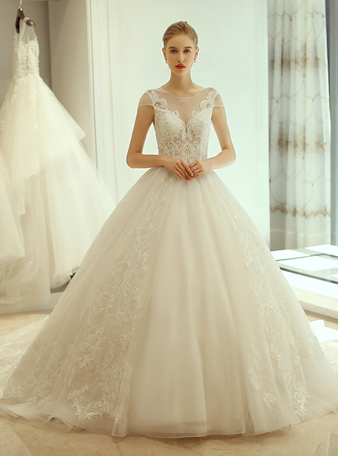 In Stock:Ship in 48 hours Ball Gown White Tulle Wedding Dress