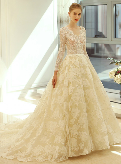 Long Sleeve Champagne Lace Wedding Dress