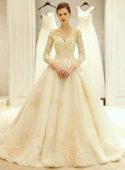 Ball Gown White Tulle Champagne Appliques Long Sleeve Wedding Dress