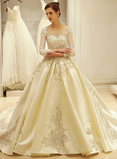 Ball Gown Beige Long Sleeve Satin Backless Appliques Wedding Dress