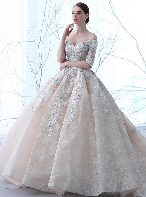 Champagne Tulle Off The Shoulder Appliques Short Sleeve Wedding Dress