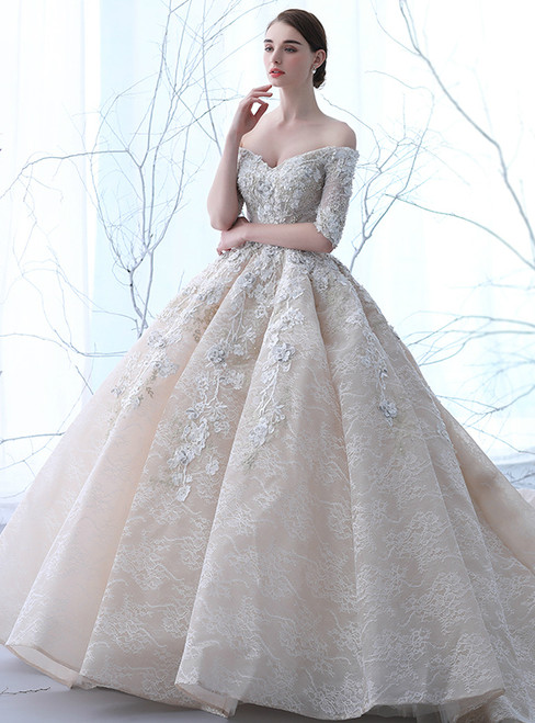 Champagne Tulle Off The Shoulder Appliques Short Sleeve Wedding Dress