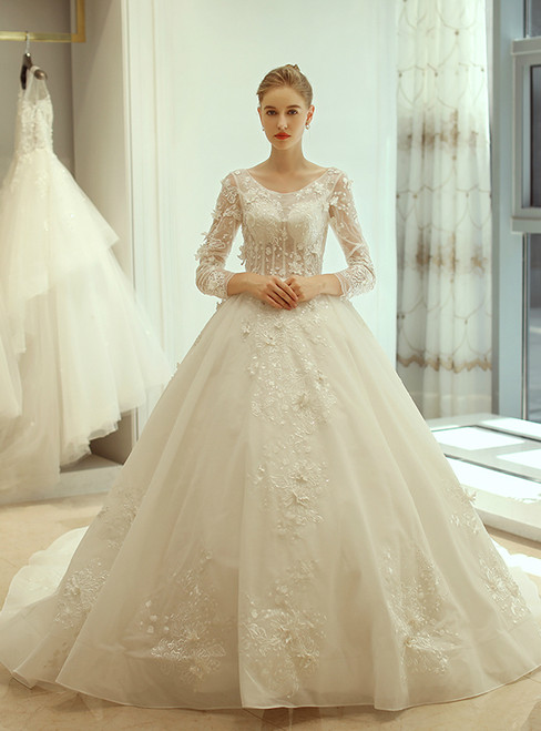 White Ball Gown Long Sleeve Backless Tulle Wedding Dress