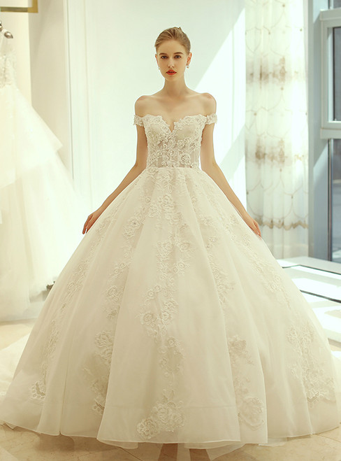 In Stock:Ship in 48 hours Ball Gown Off The Shoulder Wedding Dress