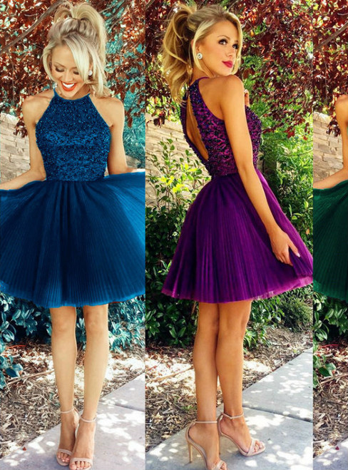 Halter Pleated Tulle Backless Dresses Puffy Homecoming Dresses