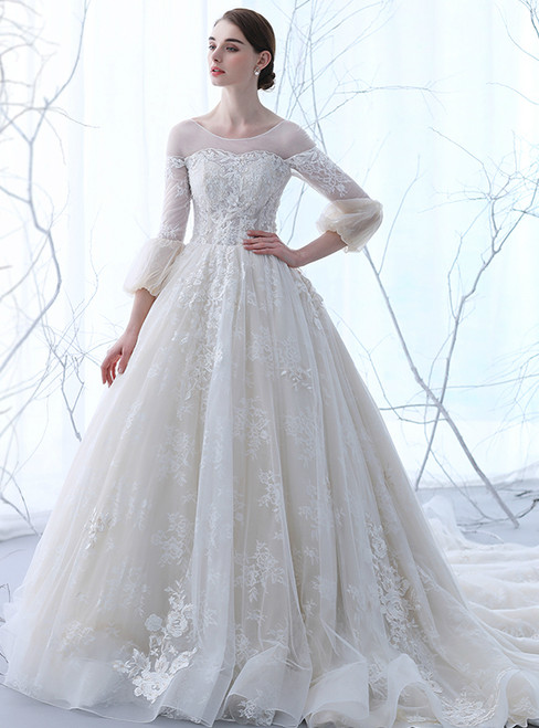 In Stock:Ship in 48 hours White Long Sleeve Tulle Wedding Dress