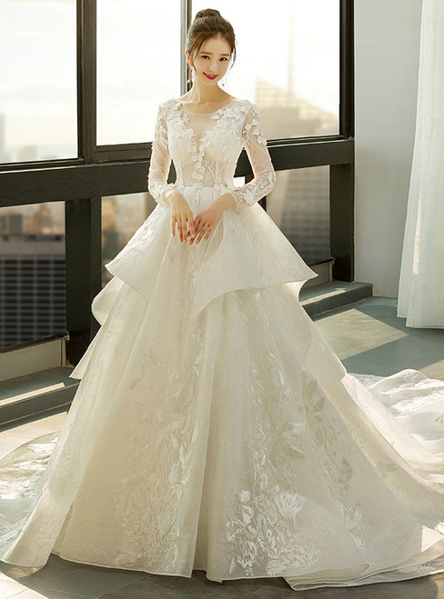 Ball Gown Ivory White Tulle Long Sleeve Backless Wedding Dress