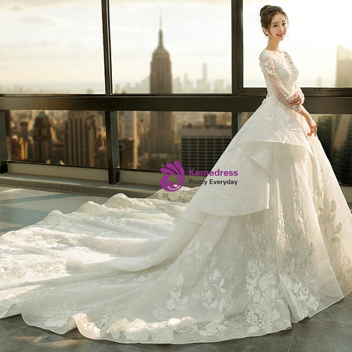 White Wedding Dress Under 500: Ball Gown Ivory White Tulle Long Sleeve Backless Wedding Dress