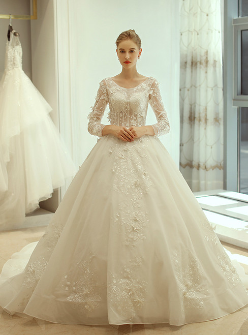 In Stock:Ship in 48 hours Long Sleeve Backless Tulle Wedding Dress
