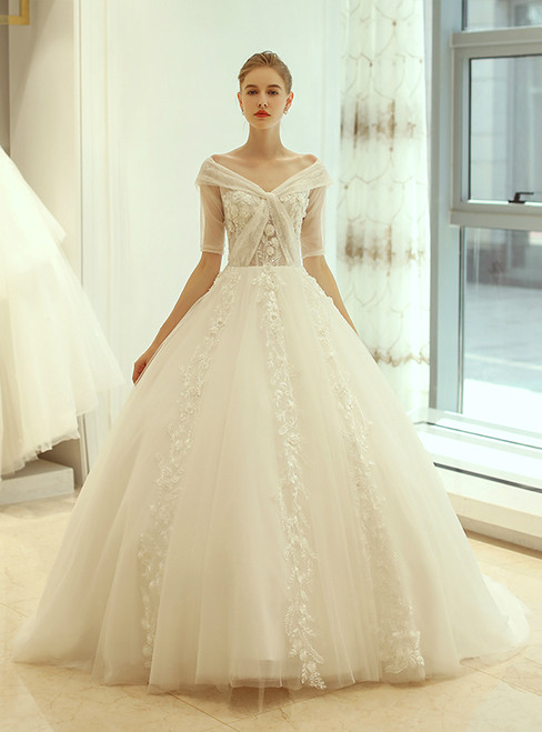 In Stock:Ship in 48 hours Ball Gown Ivory Off The Shoulder Wedding Dress
