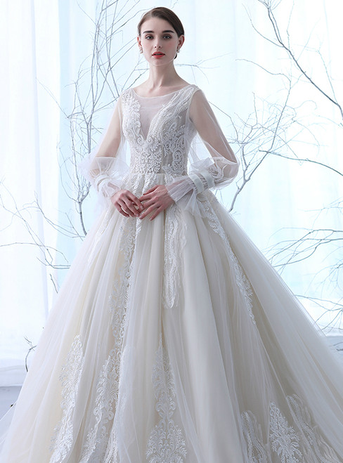 In Stock:Ship in 48 hours Luxury Long Sleeve Backless Tulle Wedding Dress