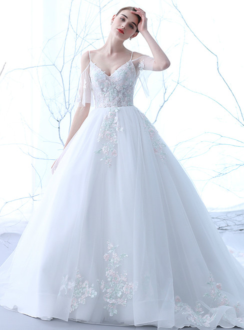 In Stock:Ship in 48 hours White Tulle Straps Tulle Appliques Wedding Dress