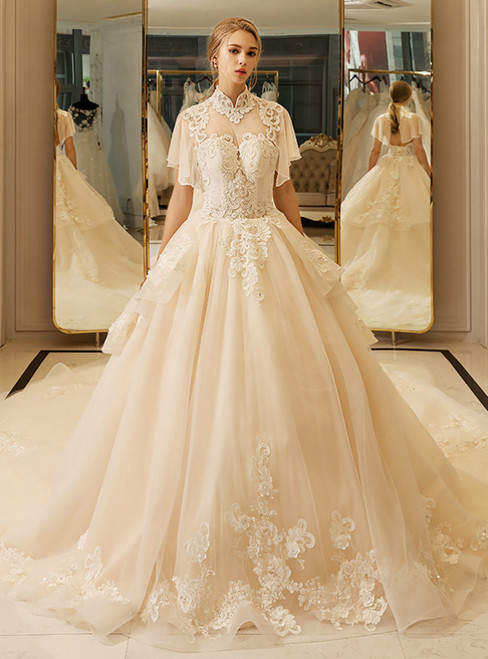 In Stock:Ship in 48 hours High Neck Backless Tulle Wedding Dress