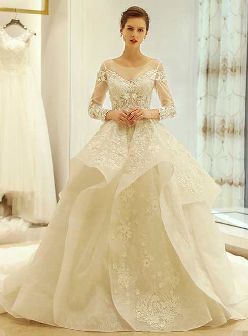 Ball Gown Ivory Long Sleeve Backless Appliques Wedding Dress