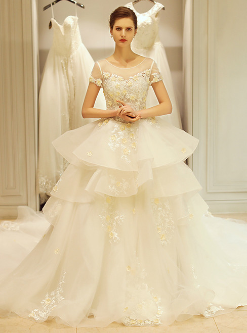 In Stock:Ship in 48 hours Cap Sleeve Ruffle Backless Wedding Dress