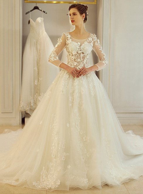 In Stock:Ship in 48 hours White Long Sleeve Appliques Wedding Dress
