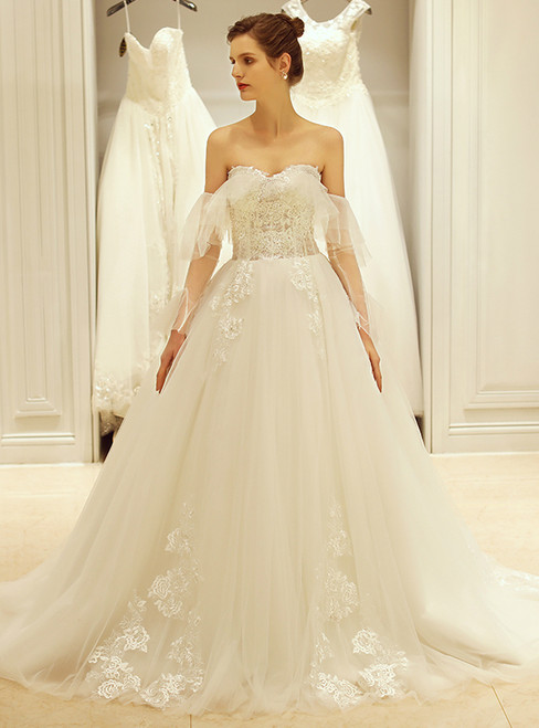 In Stock:Ship in 48 hours Sweetheart Tulle Off The Shoulder Wedding Dress
