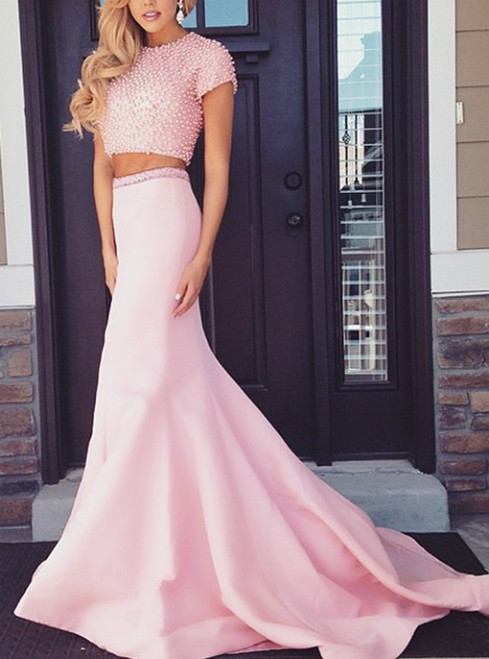 Two Piece Pearl Embellished Mermaid Satin Prom Dresses