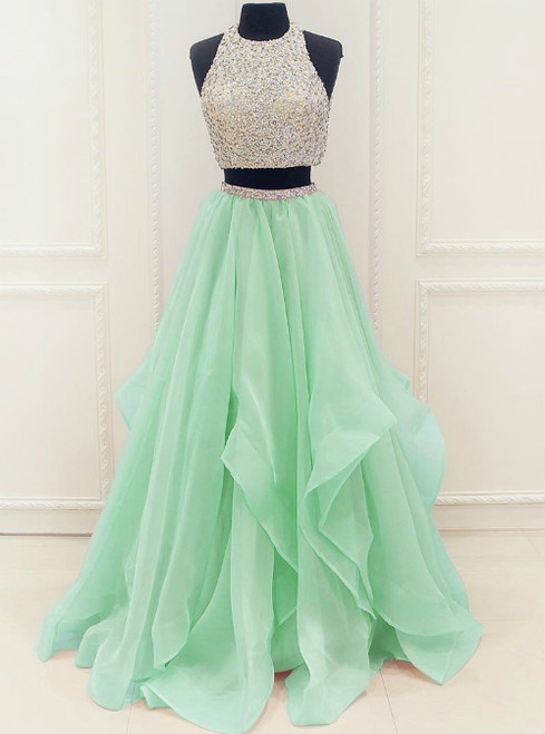 Organza Ruffles Two Piece Beading Sequins Prom Dress