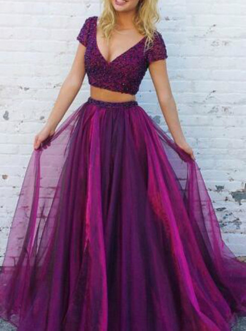 Fashion Purple Two Piece V-neck Cap Sleeve Backless Prom Dress