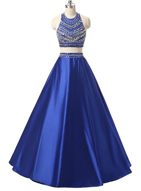 Blue Satin Two Piece Halter With Pocket Prom Dress