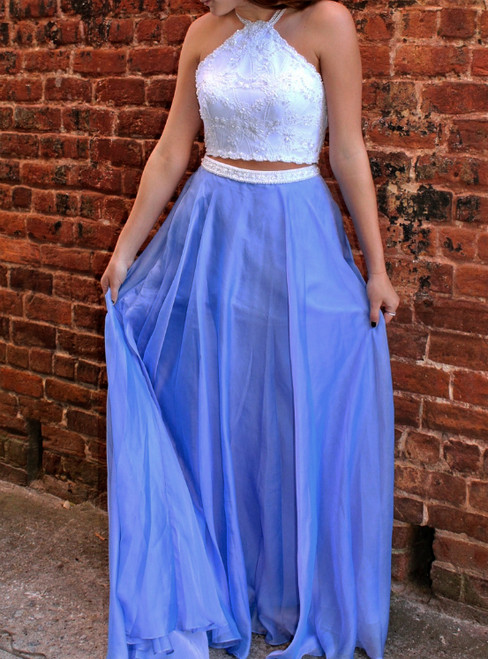 Blue Two Piece Lace Beaded Chiffon Formal Prom Dress