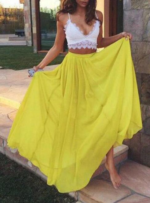 Two Piece Yellow Chiffon Lace Sexy Sweetheart Prom Dress