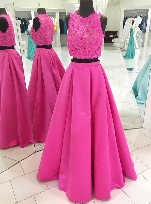 Two Piece Hot Pink Lace Satin Long Prom Dress