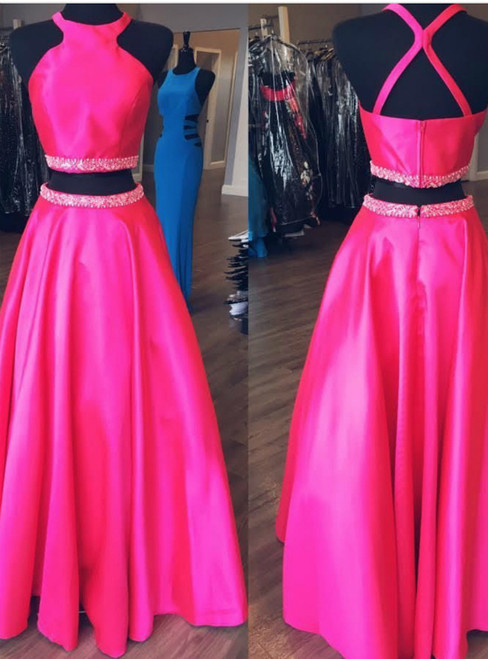 Hot Pink Two Piece Satin Halter Beading Prom Dress