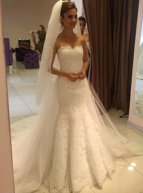Lace Mermaid Bridal Dresses,Sweetheart Court Train Wedding Dresses 2017