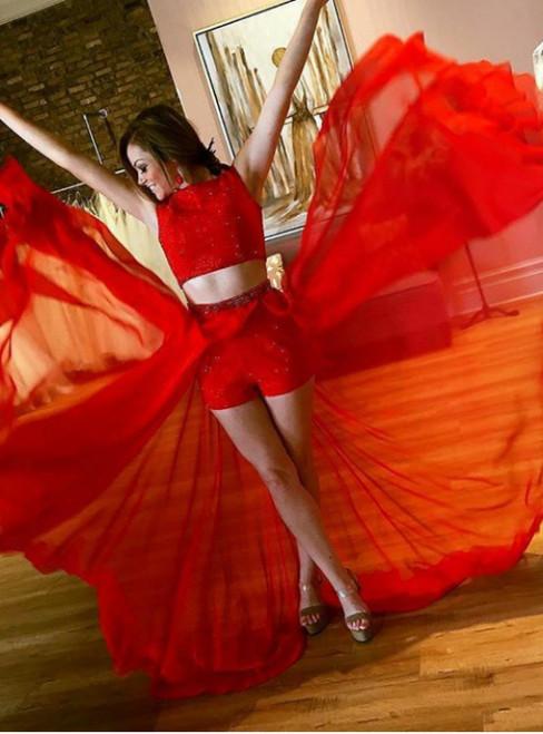 Two Piece Red Chiffon Sleeveless Chiffon Long Prom Dress